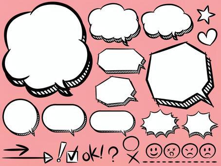 語音泡泡(三維概要)和符號&臉部