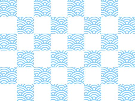 【和柄×和柄】市松×青海波:水色