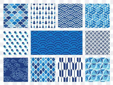 Hand-painted Japanese pattern background set (blue)