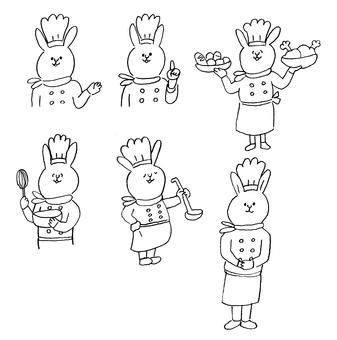 兔子公雞線描