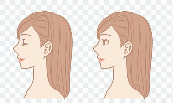 Female face (profile / grated hair)