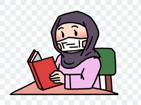 Muslim woman reading in a mask