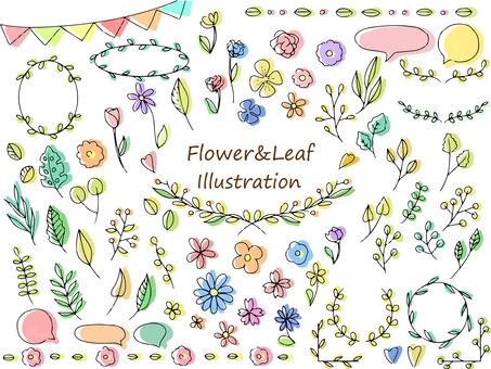 Handwritten flower and leaf motif set