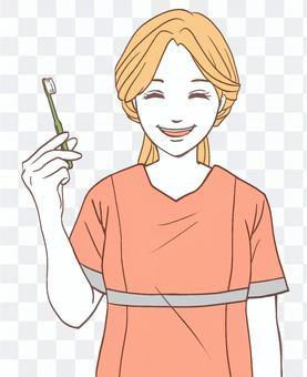 歯ブラシを持つ歯科衛生士(シンプル)