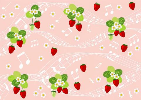 Strawberry and musical note background horizontal