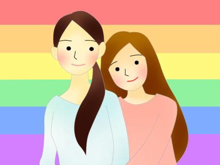 LGBT、女性情侶(上半身)