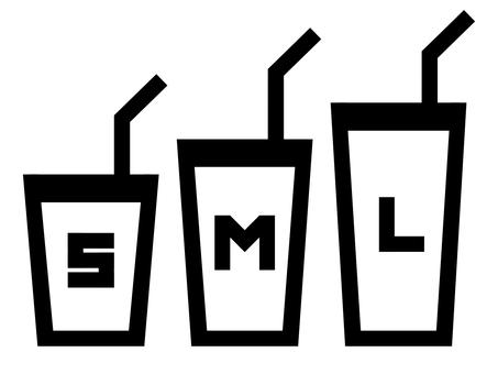 帶字母:SML 大小的飲料圖標 B