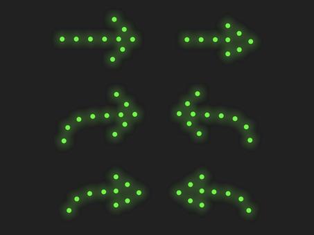 箭頭照明材料集:線條:綠色
