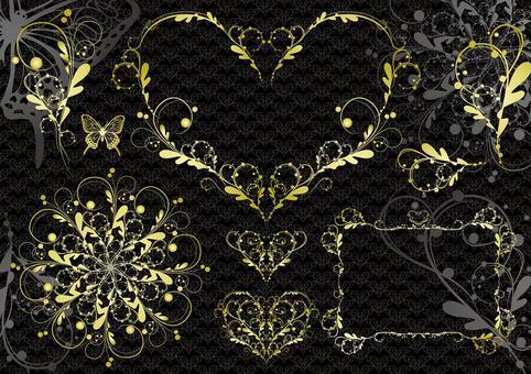 Elegant frame and pattern set with black background