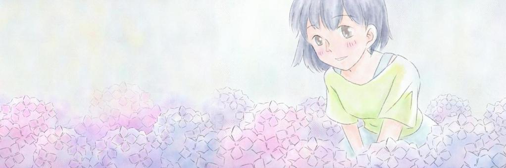 繡球花和女孩Twitter標題