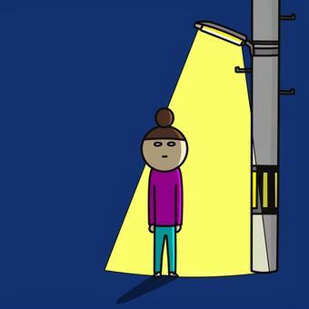ひとり 電柱 暗闇