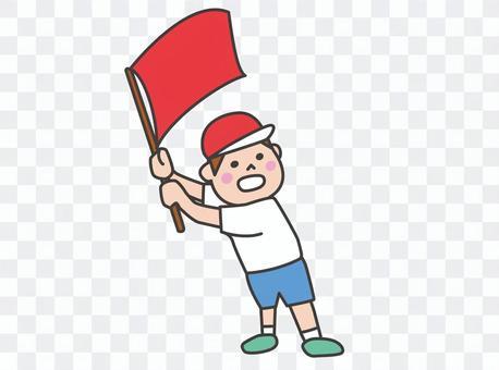 運動會啦啦隊揮舞著國旗的男孩