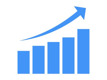 Simple rising graph icon: blue