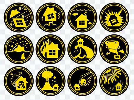 Disaster prevention icon yellow