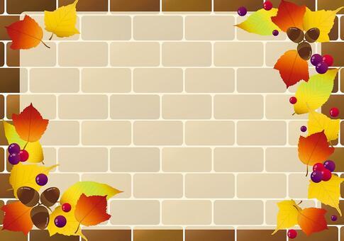 秋天磚牆框架