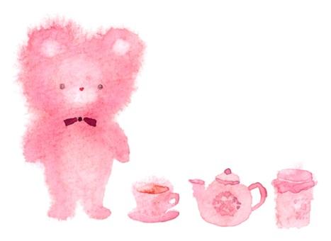 粉色泰迪熊茶會透明水彩手繪