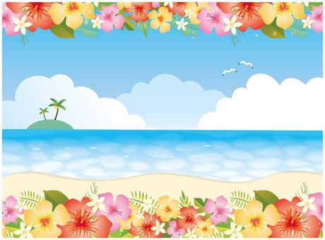 Tropical hibiscus sea background