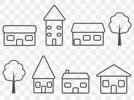 家と木のアイコンセット