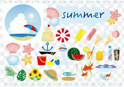 여름 소재의 바구니