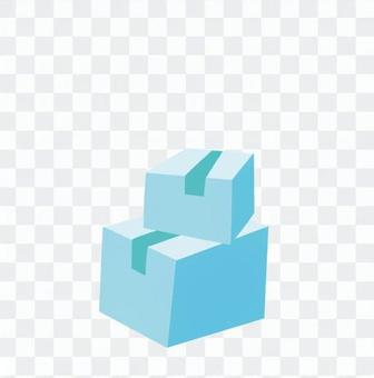 引っ越し-積まれたダンボール箱(青、2つ)
