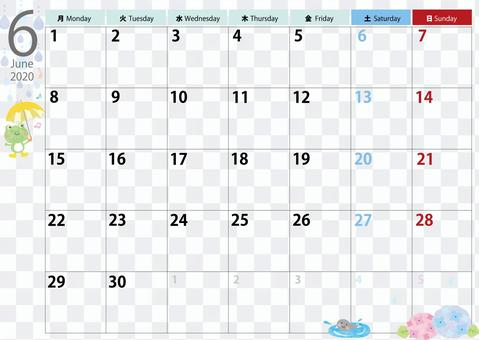Calendar 2020.6 June