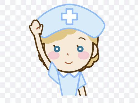護士B-43舉起一隻手