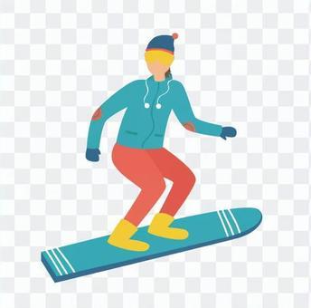 在一座雪山上滑行的滑雪板女人