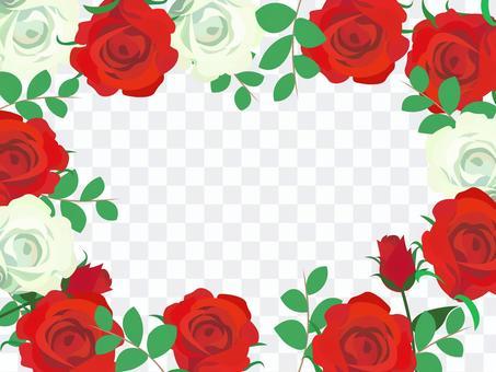 バラ 紅白 フレーム