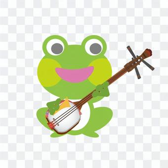 Frog playing the shamisen