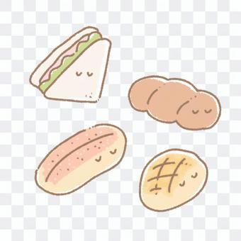 三明治、薄荷麵包、甜瓜麵包