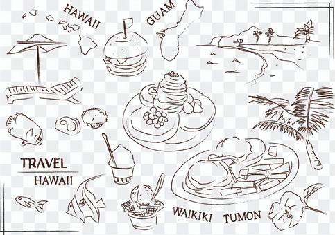 ハワイ グアム バリ リゾート 白黒