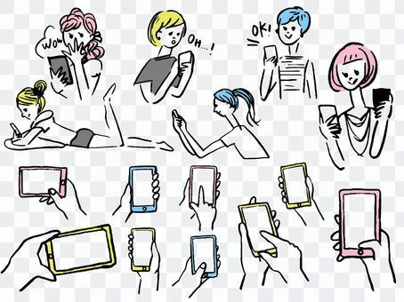 智能手機的女孩