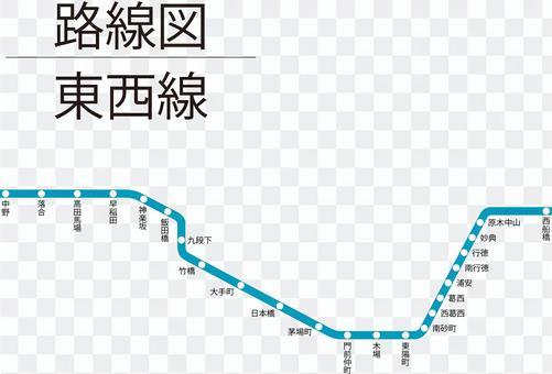 東西線路線図-単純化