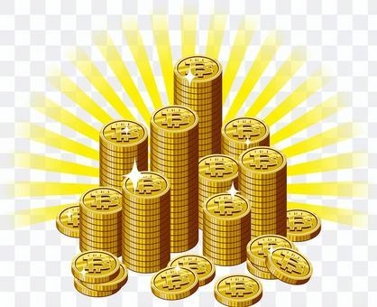比特硬幣堆光