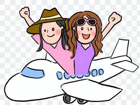 海外旅行に行く女の人たち