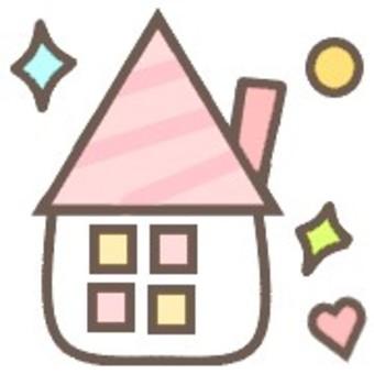 房子可愛窗口粉彩