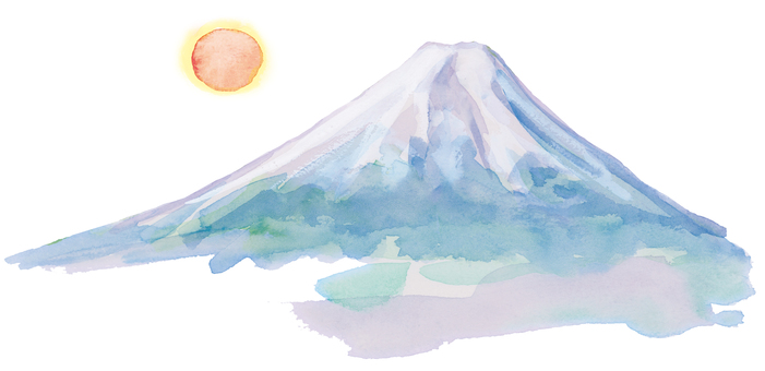 Mt. Fuji and the sun watercolor cut out