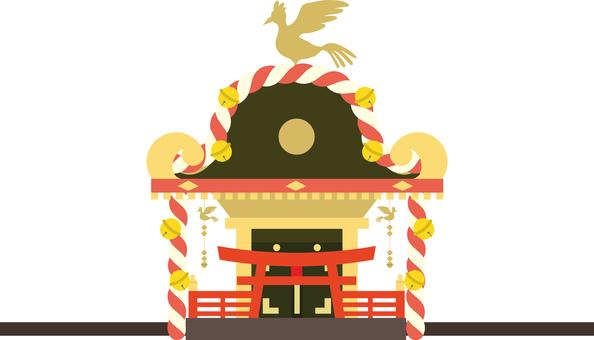 秋天節日 Omikoshi 側身的插圖