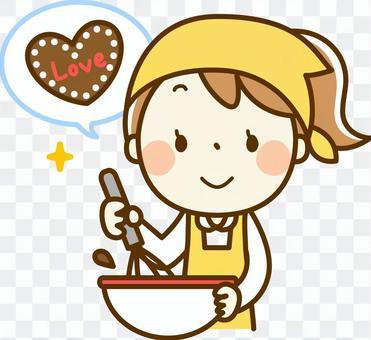 女孩手工制作巧克力