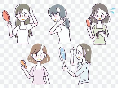 女性の髪の悩みイラスト詰め合わせセット