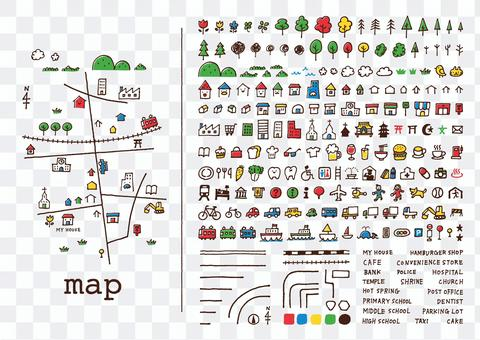 Hand-drawn map <color>