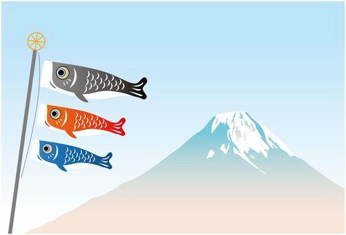 兒童節鯉魚飄帶富士山背景