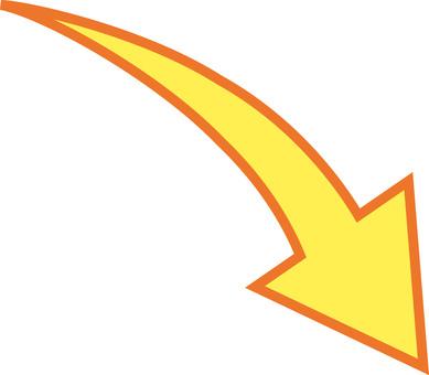 箭頭向下黃色