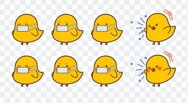 打噴嚏的小雞/帶口罩的小雞