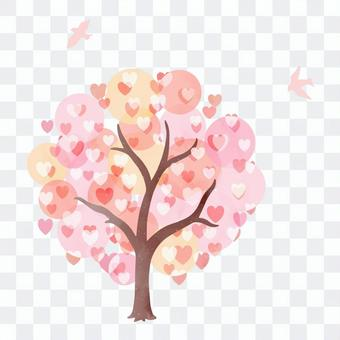 Illustration of a cherry tree full of hearts