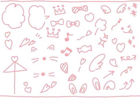 Decoration line drawing illustration set