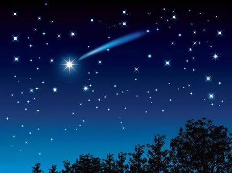一棵樹和一顆流星01的夜空
