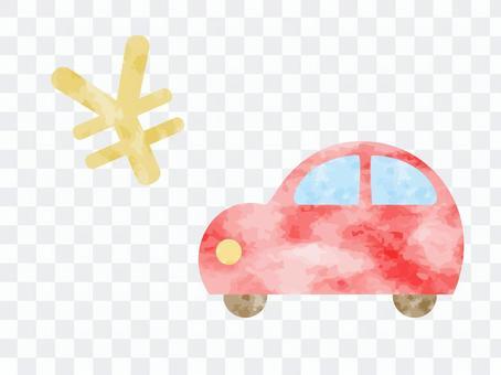 汽車和\標記的水彩插圖