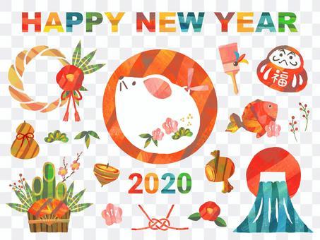 2020年・年賀状アイコンセット・子年