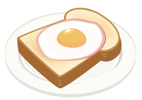 餐食★西餐插畫火腿雞蛋吐司